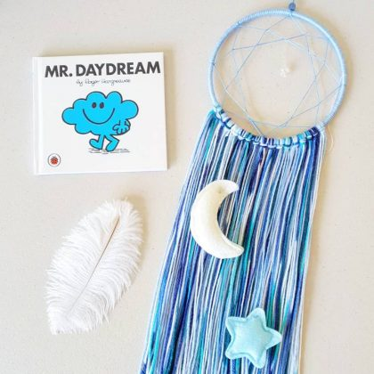 Moon and Star Dream Catcher Blue